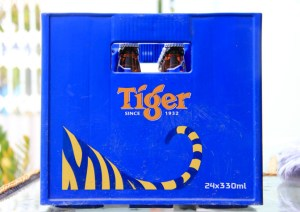 Case of Tiger Beer bottles in Vietnam