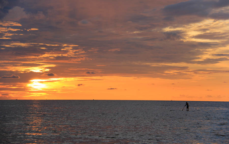 Paddle boarding sunset in Phu Quoc, VIetnam