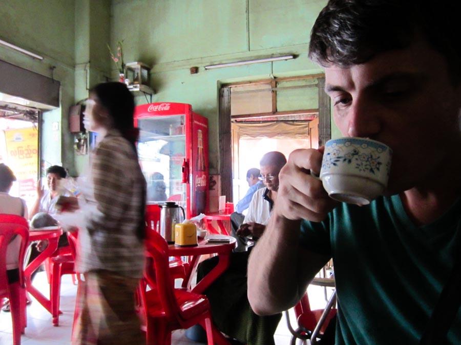 Ryan sipping tea.