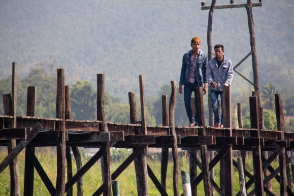 Inle Lake, Myanmar - locals stroll the pier