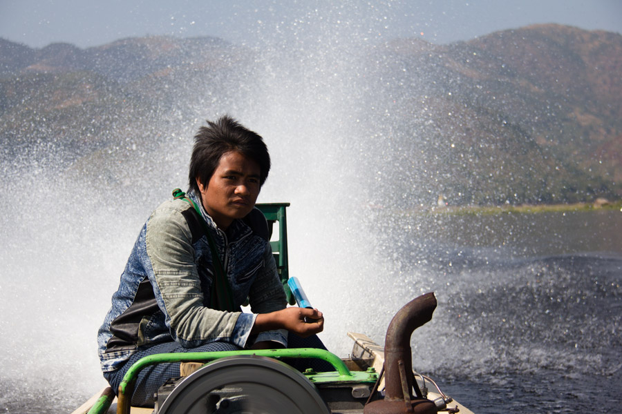 Boat driver on Inle Lake, Myanmar