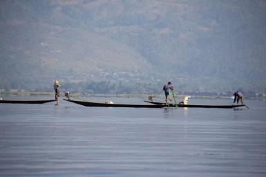Inle Lake, Myanmar fishermen boats