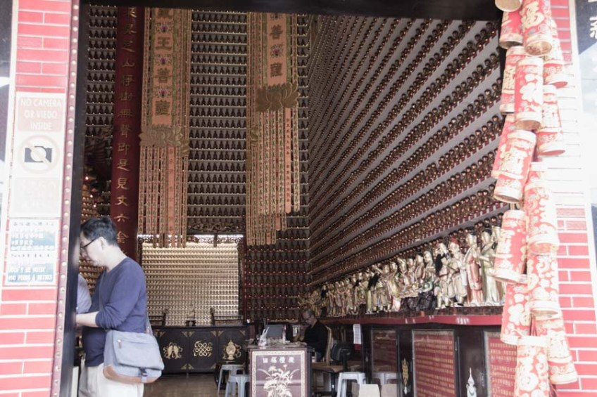 Looking inside the 10,000 Buddha temple