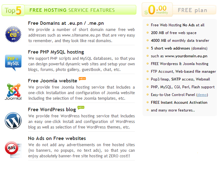 features of free hosting provider freehostingeu