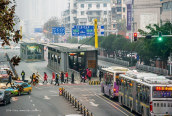 The 2016 Winner, Yichang, China, built a high-quality BRT system, as well as walking, cycling, and street design improvements along the BRT corridor. Photo Credit: ITDP China.