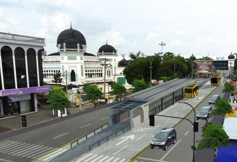 A rendering of the center-aligned BRT corridor