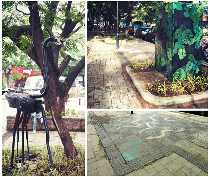 Design features on DP Road: (clockwise from left) Art installations with recycled material; attractive casing covering up the junction boxes; play area for children