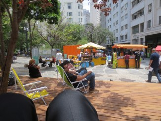 Public plaza near a low-income housing development in Sao Paulo, Brazil