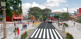 ...and a rendering of how the street will be improved, adding pedestrian space, cycle lanes, and crosswalks.