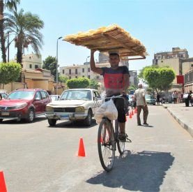 A bread-toting cyclist passes through a demo bike lane along Mohamed Farid Street in Cairo.