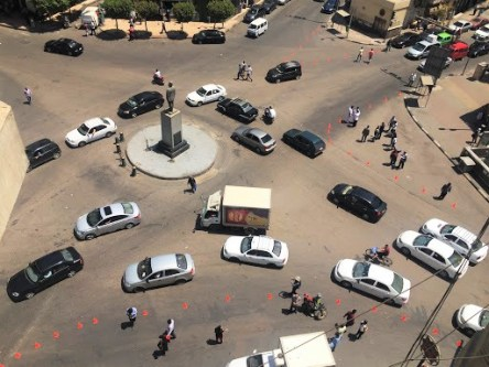 The live exercise at Mohamed Farid Square introduced a temporary cycle lane and wider pedestrian islands.