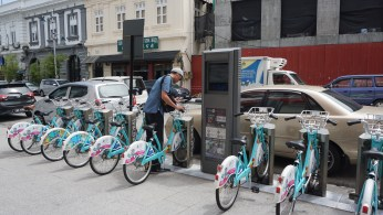 LinkBike bikeshare station on Beach Street