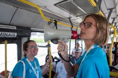 MOBILIZE attendees took public buses to the city center where they began the walking tour.