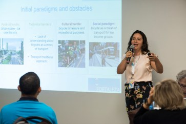 Lina Lopez of C40 Cities discussed the many successes and challenges in launching public bike share in Medellin, Colombia.