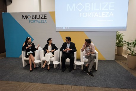 Amy Malaki of ClimateWorks moderated a session on electric mobility with (left to right) Xianyuan Zhu, ITDP China, Adalberto Maluf, BYD Brasil, and Jules Flynn, Lyft.