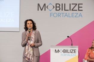 Laetitia Dablanc, Director of Research at the French Institute of Science and Technology for Transport, Development and Networks speaks during MOBILIZE plenary on mobilizing for the climate change emergency