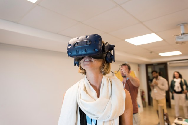 Blonde woman with VR device