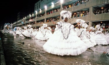 Women in white in Carnaval parade in Rio in 1984