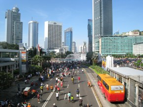 Jakarta is working to improve its transit infrastructure, here a Car Free Day shows residents the possibilities of streets without cars.