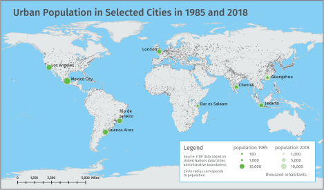 Urban population, calculated as urban and surrounding areas and administrative boundaries is shown for 9 select cities on this map.