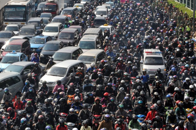 Jakarta is famous for its traffic, with some commuters traveling hours each day to and from work.