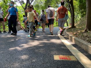 Weekends and holidays, like the May 1 Workers' Day, are busy in parks and many people took advantage of the end of confinement to enjoy the pathway.