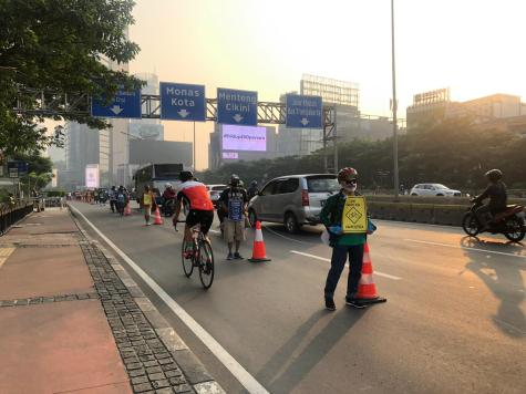 Jakarta's pop up cycle lane is still in place and with hope, it will one day become a permanent feature.