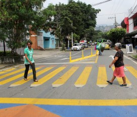 Brightly colored crosswalks keep pedestrians safe in Cali, Colombia.