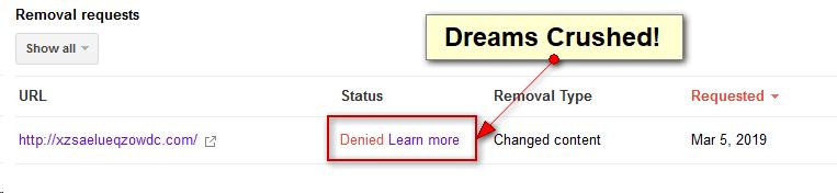 google cache removal request denied