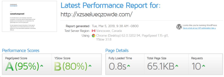 wordpress website speed test