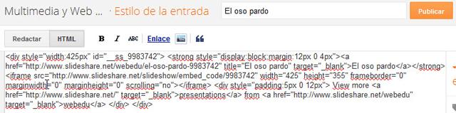 Muestra el código HTML