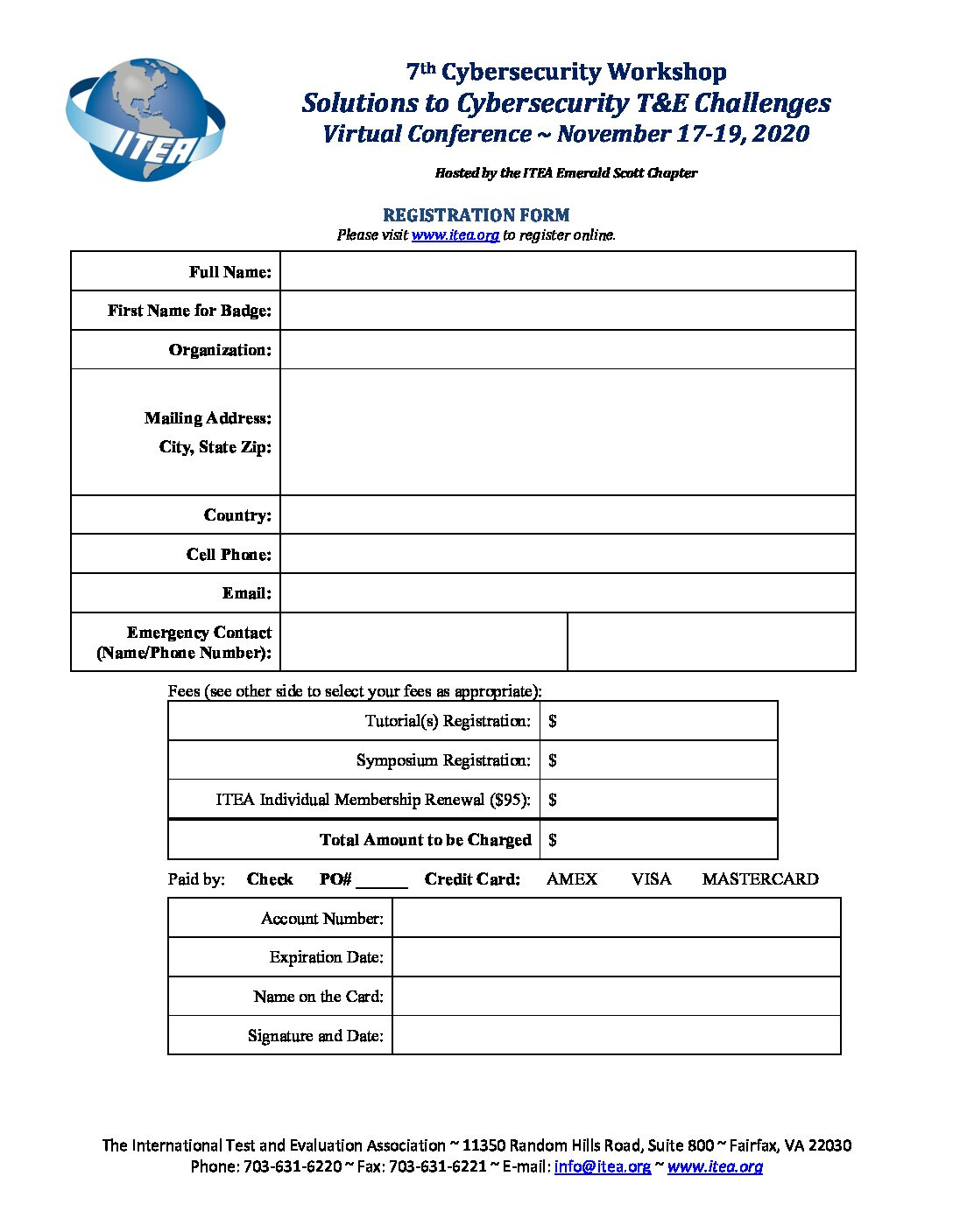 2020 Virtual Cybersecurity Registration Form