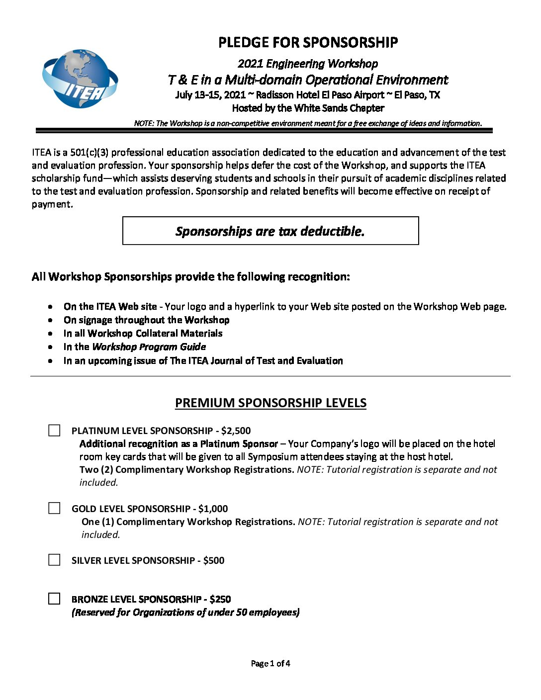 2021 MDO Workshop Sponsorship Pledge Form
