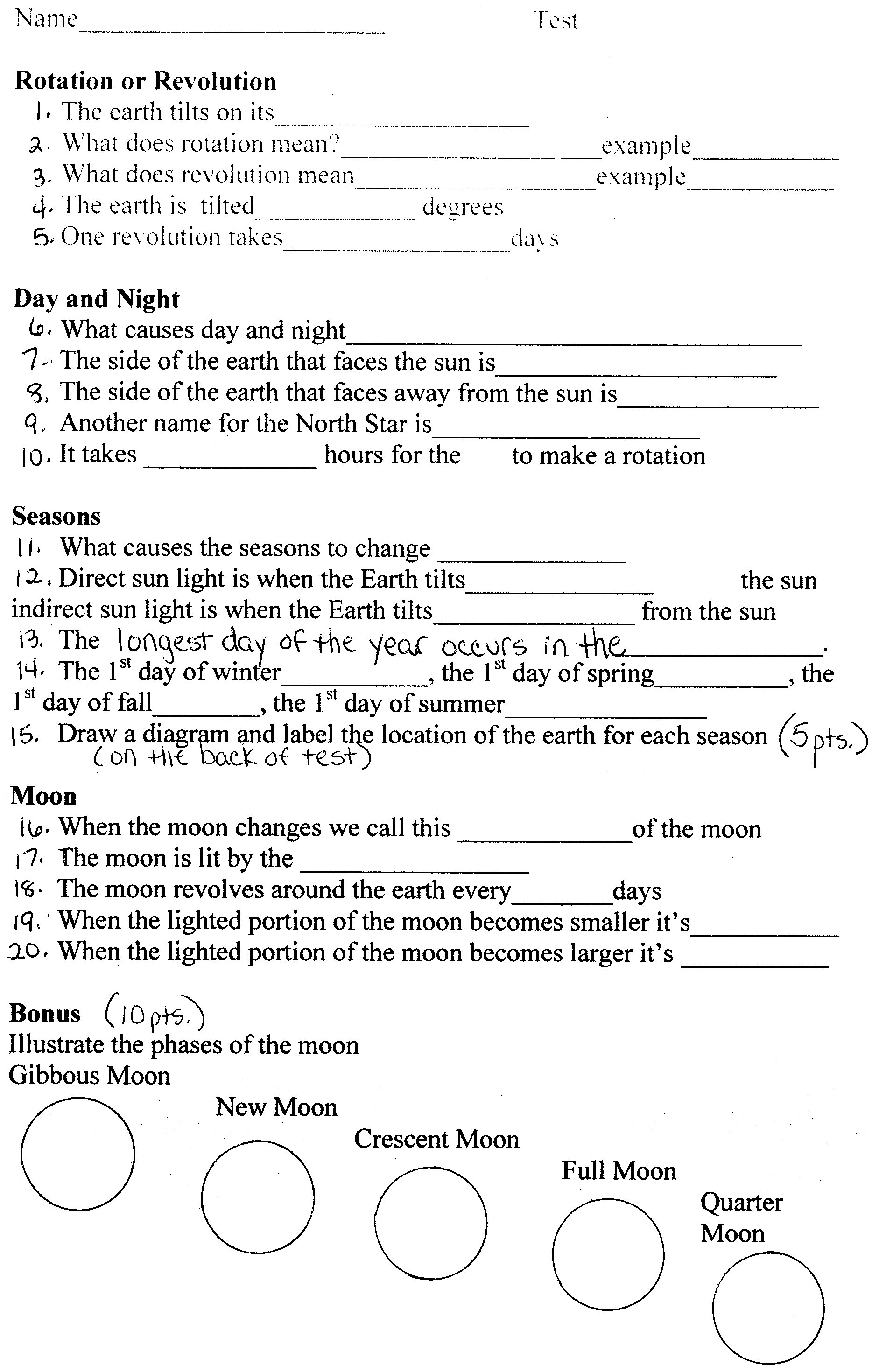 High School Astronomy Worksheets Page 3