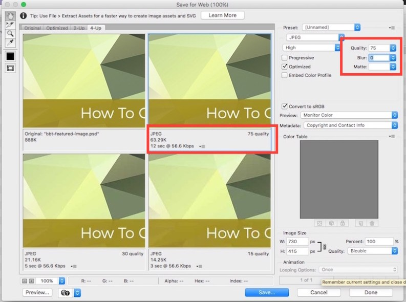 use Photoshop to compress an image