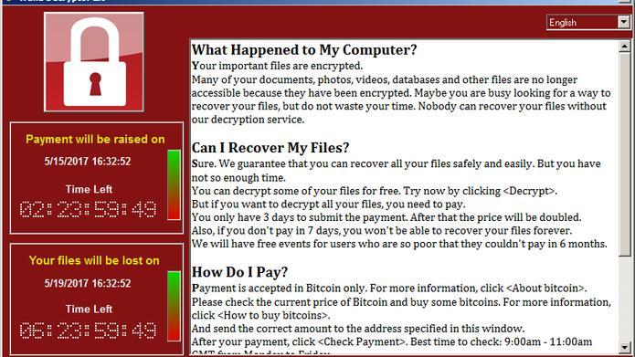 """Screenshot der Lösegeldforderung des Crypto-Trojaners """"WannaCry"""" (Bild: Securelist)"""