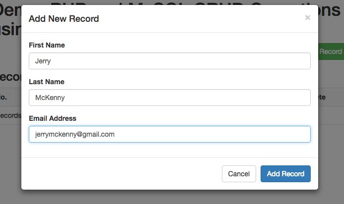 Add New Test Record
