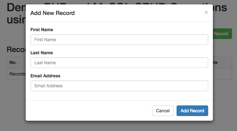 Add New Record Modal Popup