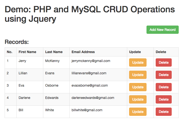 Php mysql crud operations using jquery and bootstrap for Table design using jquery