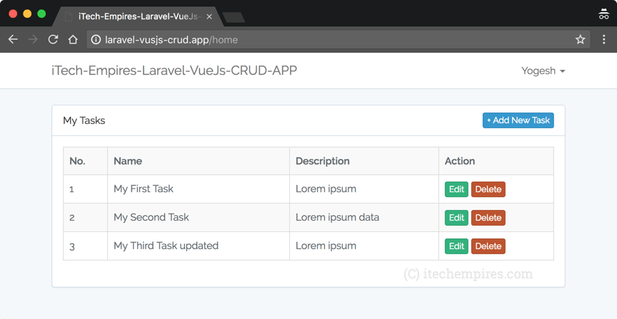 Laravel 5 5 VueJs 2 0 CRUD Operations Application – iTech Empires