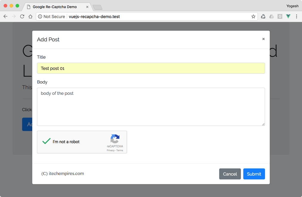 How to implement Google Recapcha with VueJs and Laravel 5