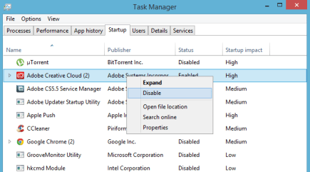 disable startup programs to speed up windows 8.1