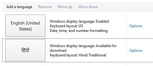 Change Keyboard Language windows 10