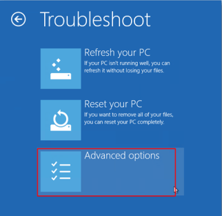 windows 8 advanced option troubleshoot