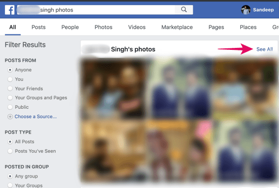 see all photos of friend facebook