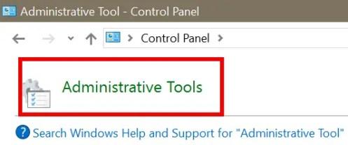administrative tools control panel