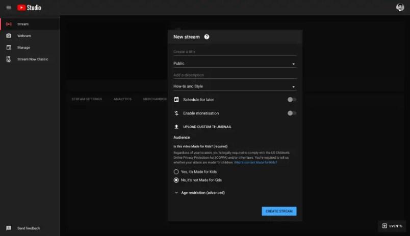 youtube livestream options