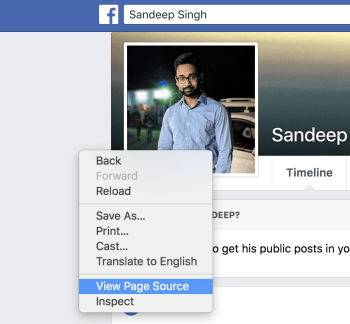find facebook id of profile