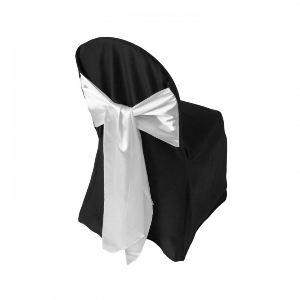 white folding chair covers little tikes desk with light and satin black ribbon