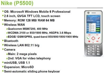 HTC Nike (P5500) PDA Slier Phone